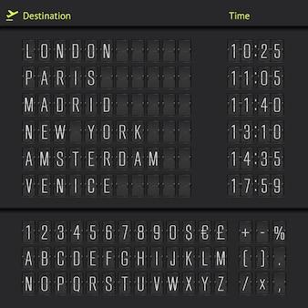Départs d'aéroport et destinations d'arrivée illustration de modèle de tableau de compteur mécanique