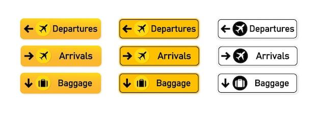 Départs, arrivées, ensemble de panneaux d'aéroport de bagages ou à utiliser pour identifier la direction