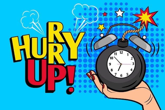 Dépêche-toi. affiche de dépêche vintage avec horloge à bombe pour vente promotionnelle et offres spéciales illustration vectorielle