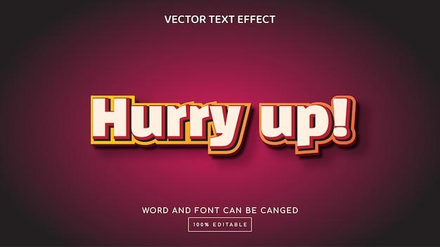 Dépêchez-vous modèle d'effet de texte modifiable en 3d