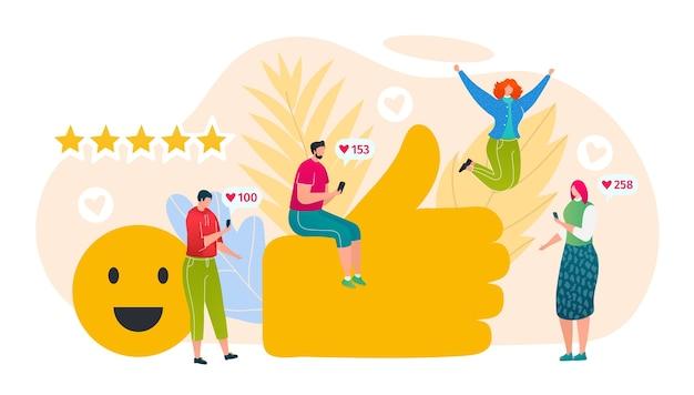 Dépendance à aime l'illustration de concept de médias sociaux