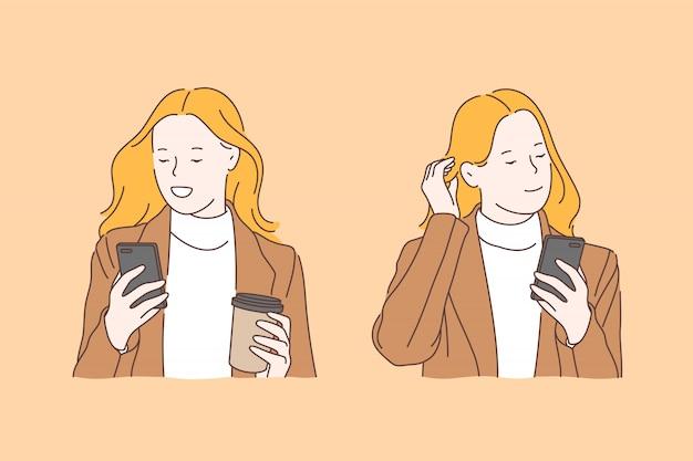 Dépendance aux gadgets, concept de rester en contact