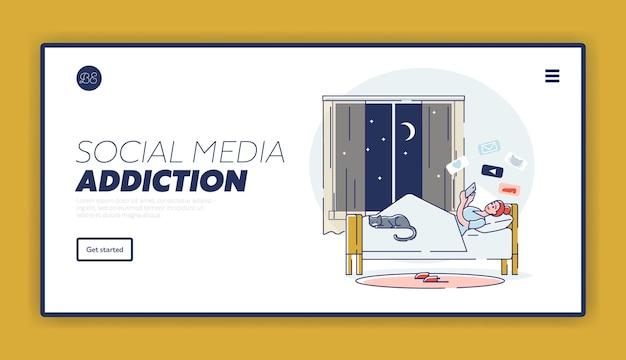 Dépendance aux médias sociaux avec une fille surfant sur internet et discutant au lit à l'aide d'un téléphone mobile