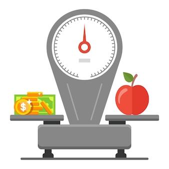 Dépenser de l'argent pour l'épicerie. équilibre des prix et de la nourriture. illustration plate.
