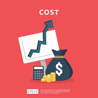Les dépenses en frais augmentent avec la flèche qui monte le diagramme de croissance. concept de réduction de trésorerie d'entreprise. progrès de la croissance des investissements avec illustration de la calculatrice.