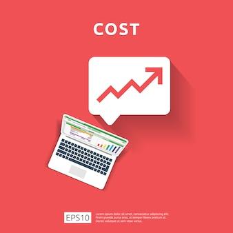 Les dépenses en frais augmentent avec la flèche qui monte le diagramme de croissance. concept de réduction de trésorerie d'entreprise. progression de la croissance des investissements avec ordinateur et calculatrice