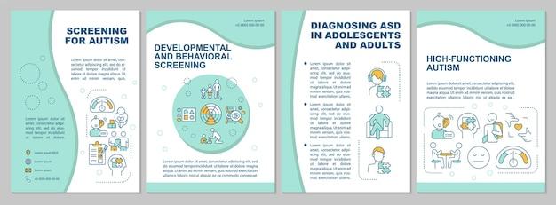 Dépistage du modèle de brochure sur l'autisme. services médicaux. flyer, brochure, dépliant imprimé, conception de la couverture avec des icônes linéaires. dispositions vectorielles pour la présentation, les rapports annuels, les pages de publicité