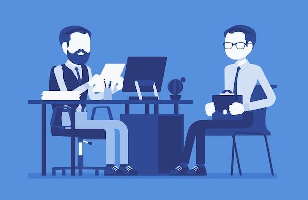 Dépistage d'entrevue rh parler avec un candidat à un emploi