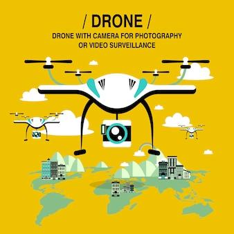 Dépistage et surveillance de drones dans un style design plat