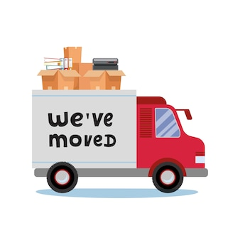 Déplacement de camions et de boîtes en carton. déplacer des trucs office. compagnie de transport. trusk side veiw with lettering quote nous avons déménagé.