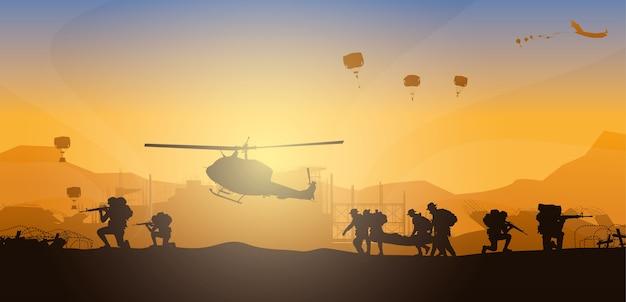 Déplacement de la personne blessée, illustration militaire, arrière-plan de l'armée, silhouettes de soldats, artillerie, cavalerie, aéroporté, armée médicale.