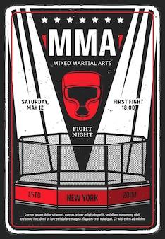 Dépliant ou affiche grungy de tournoi d'arts martiaux mixtes. éclairé avec des projecteurs cage octogonale mma