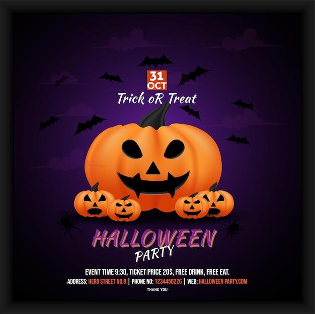 Dépliant d'affiche sur les médias sociaux pour la célébration de la fête d'halloween 31 octobre