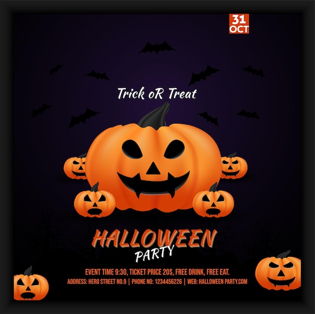 Dépliant d'affiche sur les médias sociaux pour la célébration de la fête d'halloween avec plusieurs décorations de citrouilles