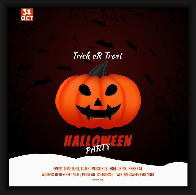 Dépliant d'affiche sur les médias sociaux pour la fête d'halloween avec le thème de la forêt de chauves-souris