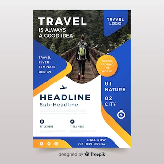 Dépliant / affiche de voyage avec modèle de photo