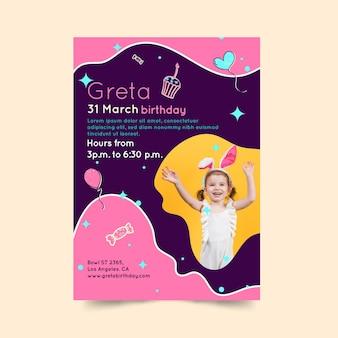 Dépliant d'anniversaire pour enfants vertical