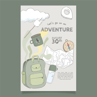 Dépliant d'aventure dessiné à la main