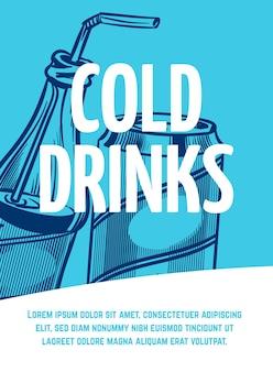 Dépliant de boisson froide. pot et bouteille avec affiche de restaurant ou de café en paille, style de croquis d'illustration vectorielle dessinés à la main dans des couleurs bleues pour le menu avec texte et espace de copie