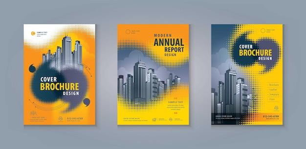 Dépliant brochure flyer modèle couverture du livre d'entreprise abractr speech bubble en point de demi-teinte