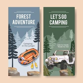 Dépliant de camping avec illustrations de bateaux pneumatiques, voitures et lanternes.