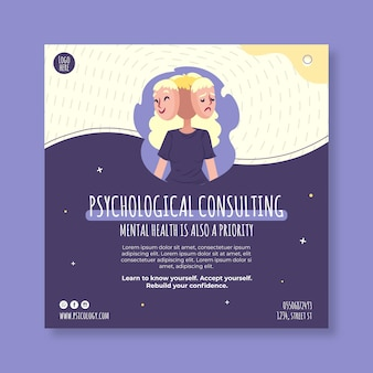 Dépliant carré de consultation psychologique