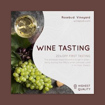 Dépliant carré de dégustation de vin