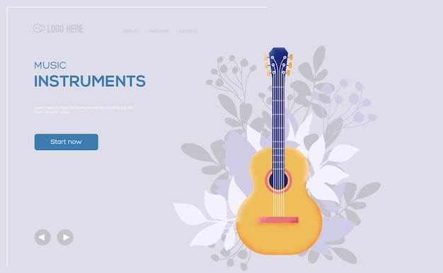 Dépliant de concept classique de guitare, bannière web, en-tête d'interface utilisateur, entrez dans le site. .