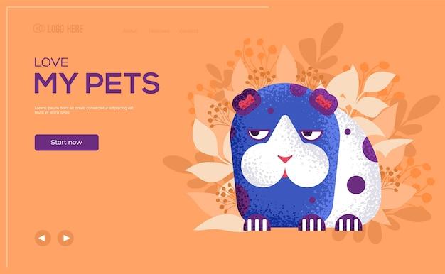 Dépliant de concept de hamster, bannière web, en-tête d'interface utilisateur, entrez dans le site. .