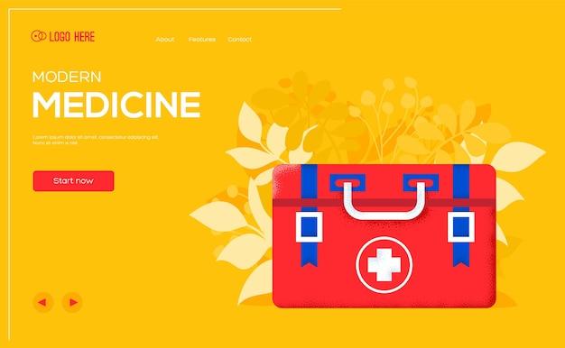 Dépliant de concept de trousse de premiers soins, bannière web, en-tête d'interface utilisateur, entrez sur le site. .