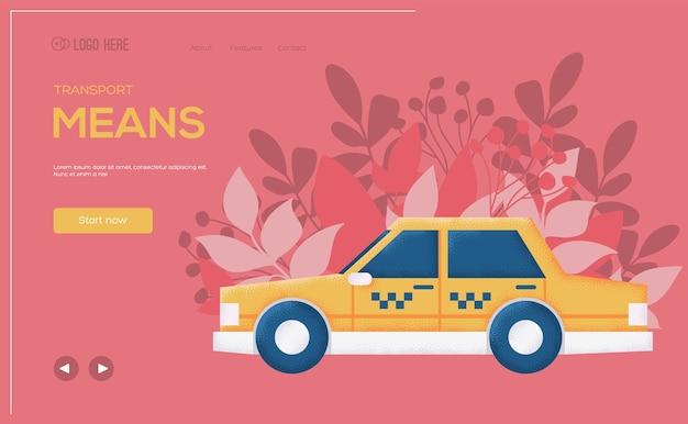Dépliant de concept de voiture de taxi, bannière web, en-tête d'interface utilisateur, entrez dans le site. .