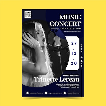 Dépliant de concert de musique en streaming en direct avec photo