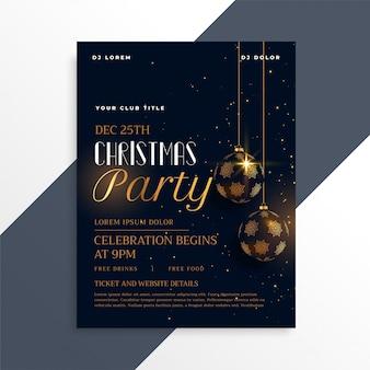 Dépliant de fête de Noël sombre de luxe en thème or