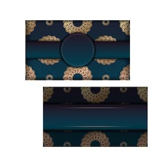 Dépliant de dégradé vert de voeux avec des ornements en or grec pour votre conception.