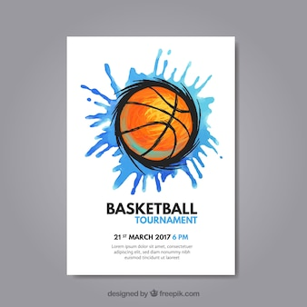 Dépliant avec les éclaboussures et le basket-ball