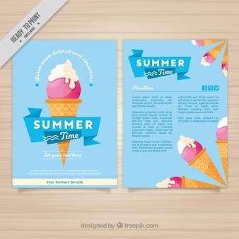 Dépliant enjoyable d'été avec de la glace