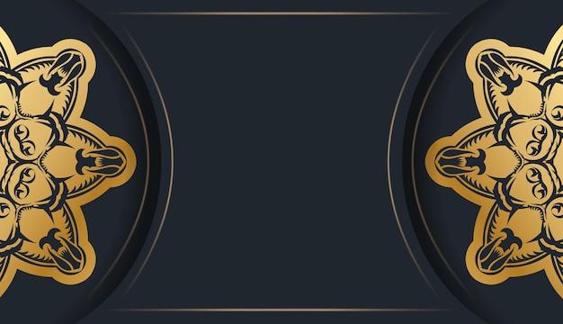 Un dépliant de félicitations de couleur noire avec un ornement en or vintage est préparé pour l'impression.