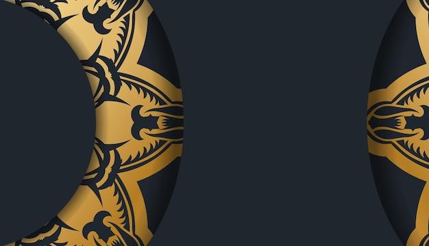 Le dépliant de félicitations en noir avec un motif doré vintage est préparé pour l'impression.