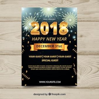 Dépliant de fête du nouvel an 2018 avec feux d'artifice d'or