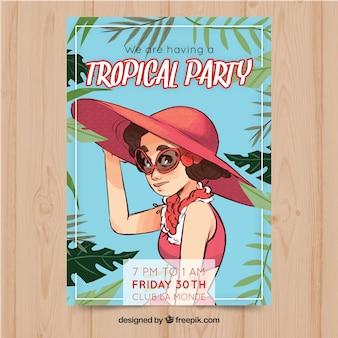 Dépliant de fête tropicale de fille avec pamela