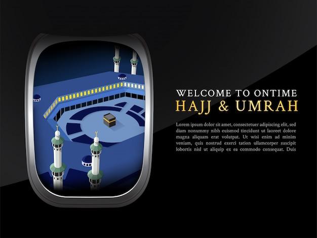Dépliant hajj et omra, affiche, modèle de bannière vue depuis la fenêtre de l'avion