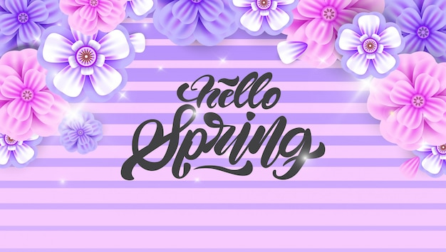 Dépliant hello spring en style lettrage