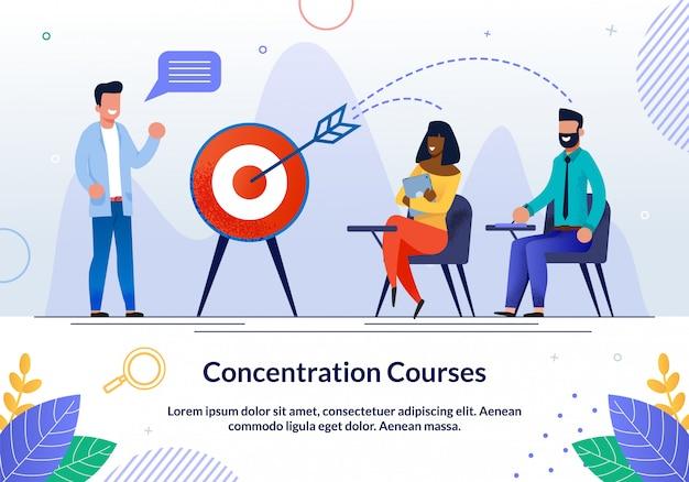 Dépliant informatif sur les cours de concentration écrits.