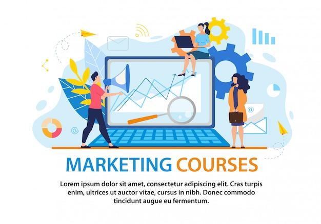 Dépliant informatif sur les cours de marketing par inscription.
