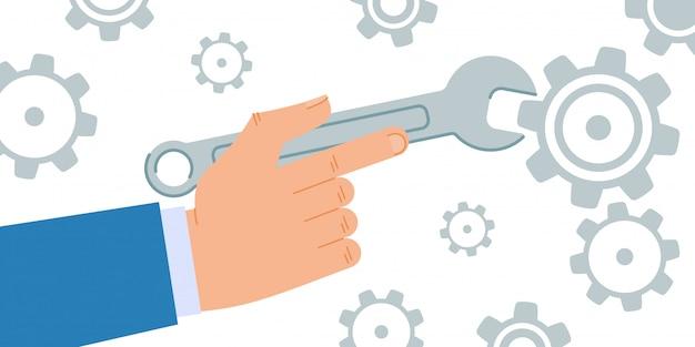 Dépliant informatif utiliser des outils à main cartoon baner plat
