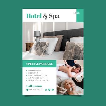Dépliant d'information sur les hôtels modernes avec photo