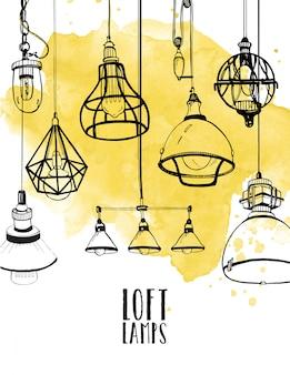 Dépliant avec des lampes loft edison modernes, des ampoules rétro de style rétro. fond dessiné à la main