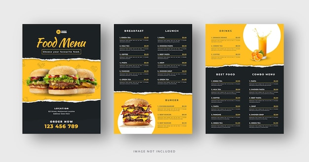 Dépliant de menu de délicieux hamburgers et restaurants