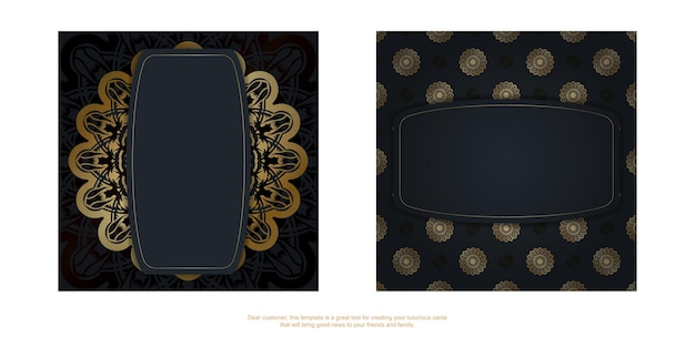 Dépliant noir avec une ornementation dorée luxueuse préparée pour la typographie.