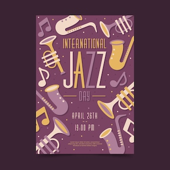 Dépliant plat de la journée internationale du jazz
